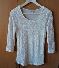 Bílé krajkové tričko bílá halenka 3/4 rukáv amisu , amisu,m