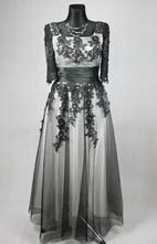 Černo-bílé korzetové šaty s 3/4 rukávem vel 36-38, 36