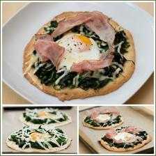 Bleskové pita pizzy se špenátem a sázeným vejcem