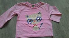 Růžové tričko s kočičkou f&f, vel. 74, f&f,74