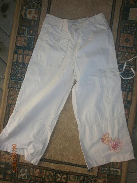 Letní 3/4 plátěné kalhoty vel.134/140, tcm,134