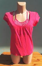Růžový top tričko edc - vel.l, esprit,l