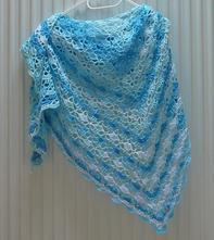 Háčkovaný šátek modrý batik, m