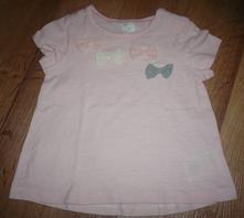 Parádní růžové tričko s mašlemi vel. 74, nové, h&m,74