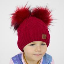 Dívčí/dámská čepice dvojbambule červená,