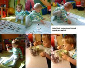 """Zkusili jsme zvířátka-mláďátky (blog Z lesa)-koukal, ale sám neaktivně. Znovu ho zaujali emoce-obličeje puzzle a pak vytáhl pytlík s nástroji. Pak jsme šli dělat švestkovou přesnídávku - pár předělal do misky robotu a pak """"papá šťávičku"""" :-)"""