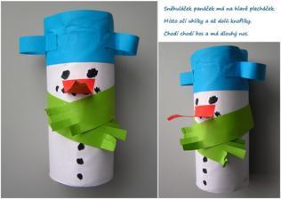Sněhulák (z roličky od toaletního papíru)