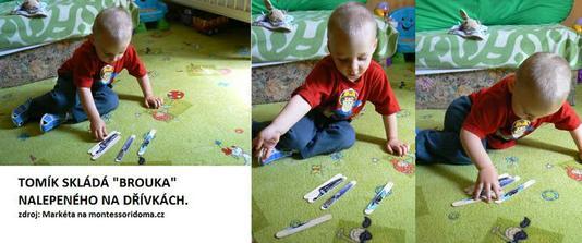 Pokus o dřívkové puzzle. Ještě to dopiluju a udělám mu těch skládaček víc ať to pak má obtížnější. Jak tam bylo auto, tak to zabralo :-).