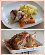Kuře s česnekovo-tymiánovým máslem podle kuchařky Albert - také výborné!