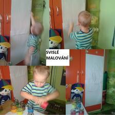 """Táta lepil Tomíkovi tapetu na dveře a """"maloval"""" na ně značky, kde to nalepí. Tomík, že bude taky malovat na dveře. Tak jsem si vzpomněla na nápad Mili a nalepila mu papír na skříň. Tak jsme trochu potrénovali ramenní kloub. :-)"""