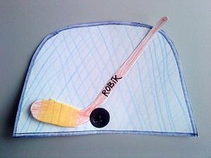 hokej (síť v brance - nácvik rovných dlouhých čar)