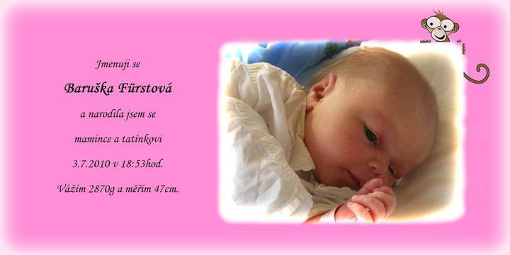 Moc děkujeme tětě ivasad, která nám udělala takové krásné oznámení o narození naší holčičky