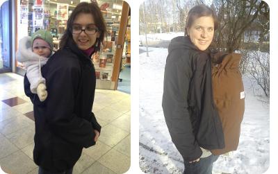 Nošení dětí v zimě v nosicí bundě Angel wings a s ochrannou kapsou MaM