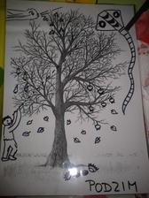 Povídání o podzimu, co se děje a maminka malovala. Strom máme od jara a vždy vymažu předešlé a překreslím. (zalaminovaný obrázek holého stromu)