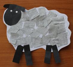 Domácí zvířata_ovečka (barevné a krepové papíry, lepení)